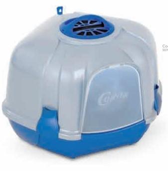 Туалет для кошек БОКС с фильтром и лопаткой, угловой CORNER BLUE 52*59,5*44,5 см
