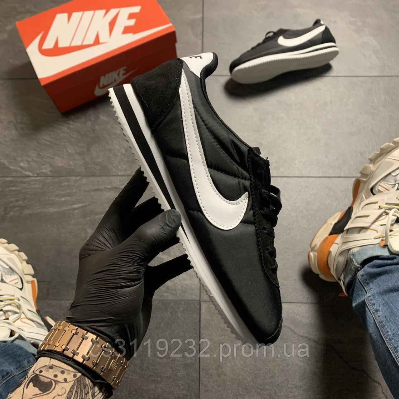 Мужские кроссовки Nike Cortez Black White (черные)