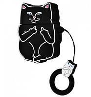 Чехол  для Apple AirPods Cat Fakk силиконовый, Черный