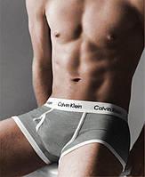 Трусы боксеры мужские Calvin Klein 365 CK мужское белье (реплика) серые с белой резинкой