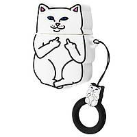 Чехол для Apple AirPods Cat Fakk силиконовый, Белый