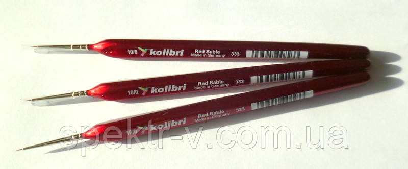 Набор кистей H&S Kolibri Red Sable №2/0 (красный соболь), 3 шт.
