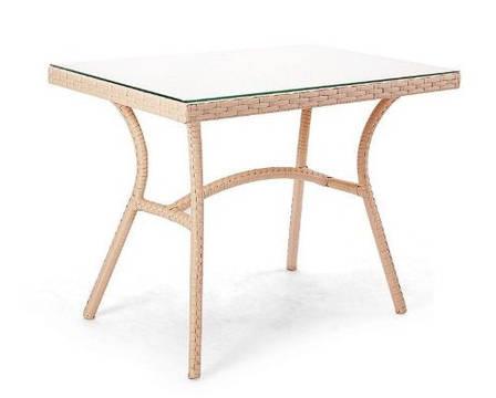 Стол Глэм (100х60х75)см ротанг + тонированное стекло 6мм, фото 2