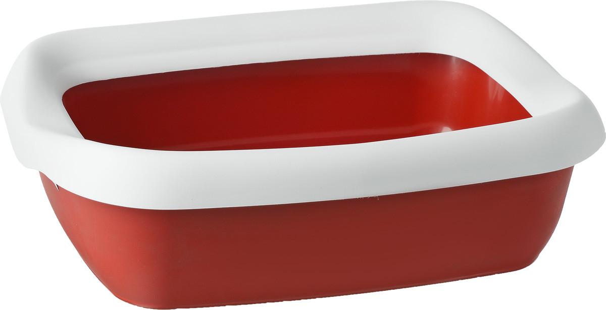 Туалет для кошек с рамкой BETA PLUS MINI RED, 43*31*16 см