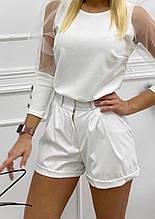 """Кожаные женские шорты белые  """"Jolly""""  В И"""