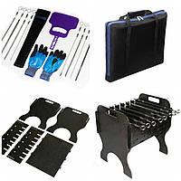 Комплект: Мангал разборный, шампура,сумка, перчатки,веер,чехол.