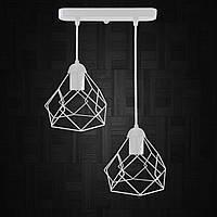 """Подвесной металлический светильник, современный стиль """"RUBY-2W"""" Е27  белый цвет"""