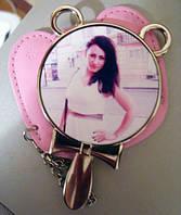 Кругле дзеркальце в рожевому чохлі, фото 1