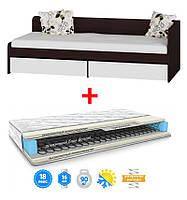 Кровать Соната-800 с выдвижными ящиками+МАТРАС LARGO BОN (ЛАРГО БОН) 800Х1900