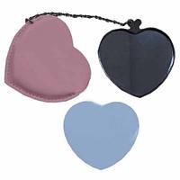 Зеркальце сердечком в розовом чехле