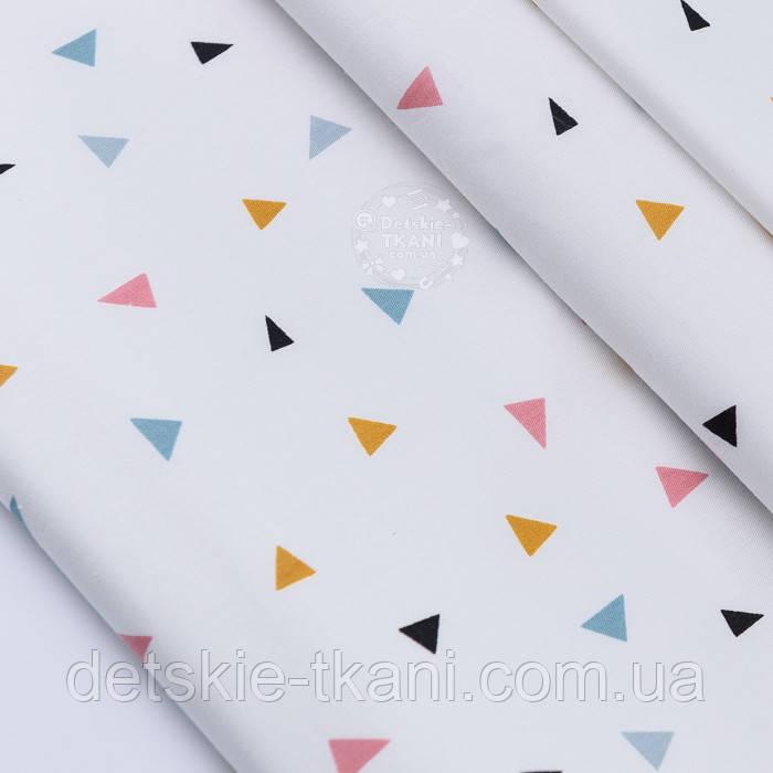 """Сатин ткань """"Разносторонние треугольники"""" терракотовые, горчичные, серые на белом фоне № 2629с"""