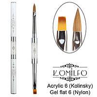 Komilfo Пензель Double Acrylic 6 (Kolinsky) / Gel flat 6 (Nylon)