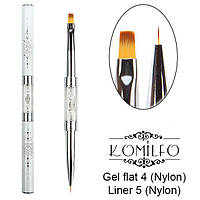 Komilfo Пензель Double Gel flat 4 (Nylon)/Liner 5 (Nylon)