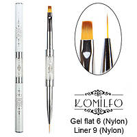 Komilfo Пензель Double Gel flat 6 (Nylon)/Liner 9 (Nylon)