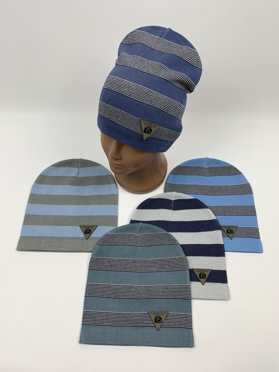 Детские демисезонные вязаные шапки для мальчиков оптом, р.48-50, ANPA (m136)