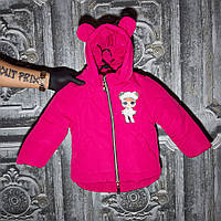Курточка детская с ушками для девочек, розовая, фото 1