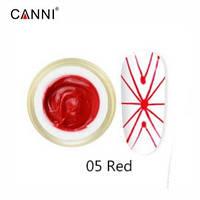 Canni 3D Embossing gel Гель-павутинка №5 (червоний), 8 мл