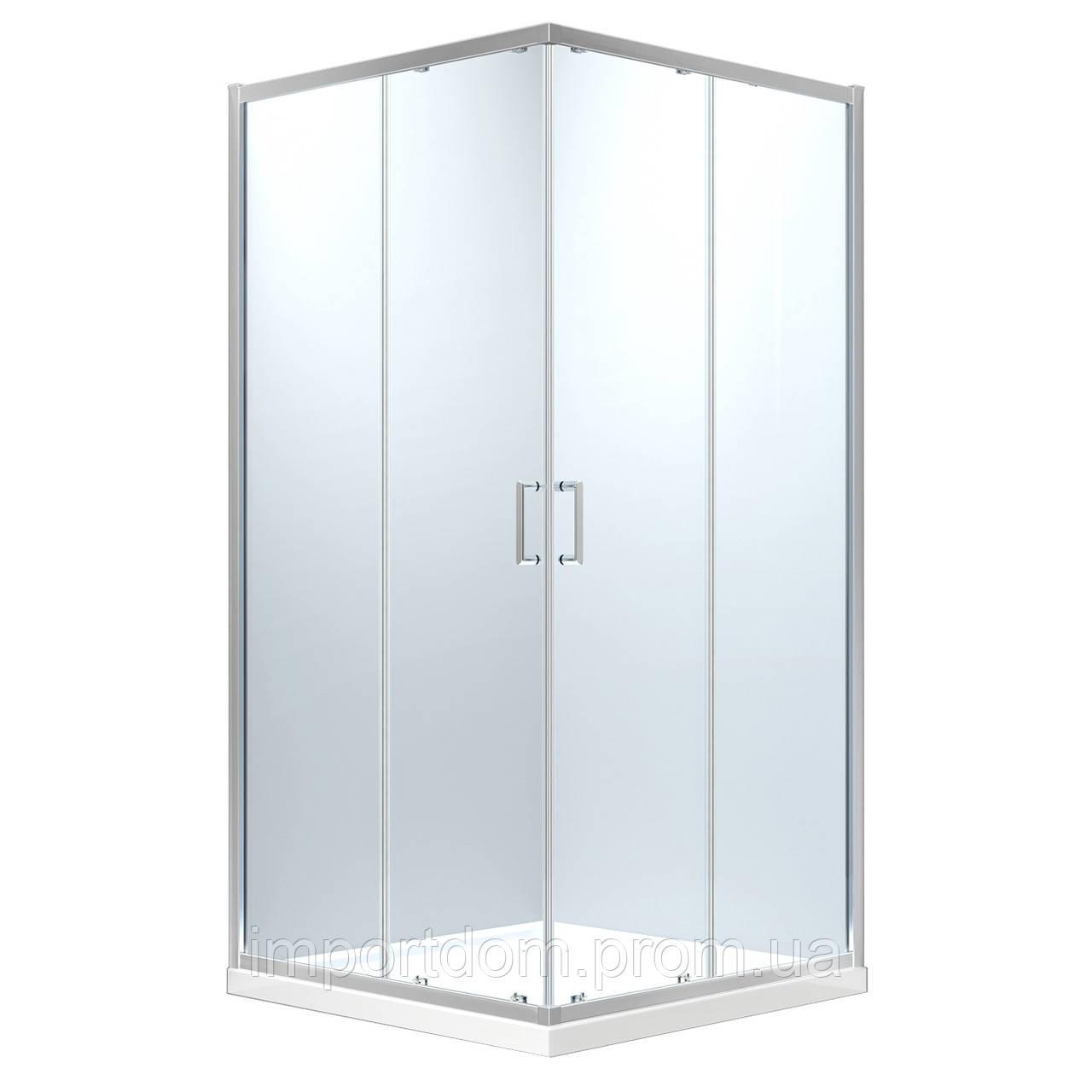 HÉVÍZ Душова кабіна квадратна 900*900*1950мм(скла+двері), розсувні двері, скло 6 мм, профіль хром
