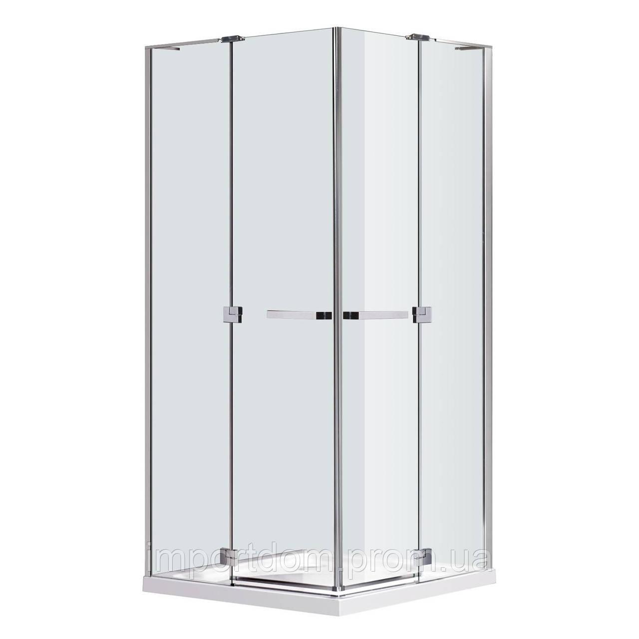 RUBIK Душевая кабина квадратная 100*100*190 см (стекла+двери), распашные двери, стекло прозрачное 8 мм (без