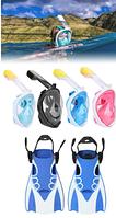 Набор для плавания 2 в 1 (полнолицевая панорамная маска FREE BREATH M2068G + короткие спортивные ласты), фото 1