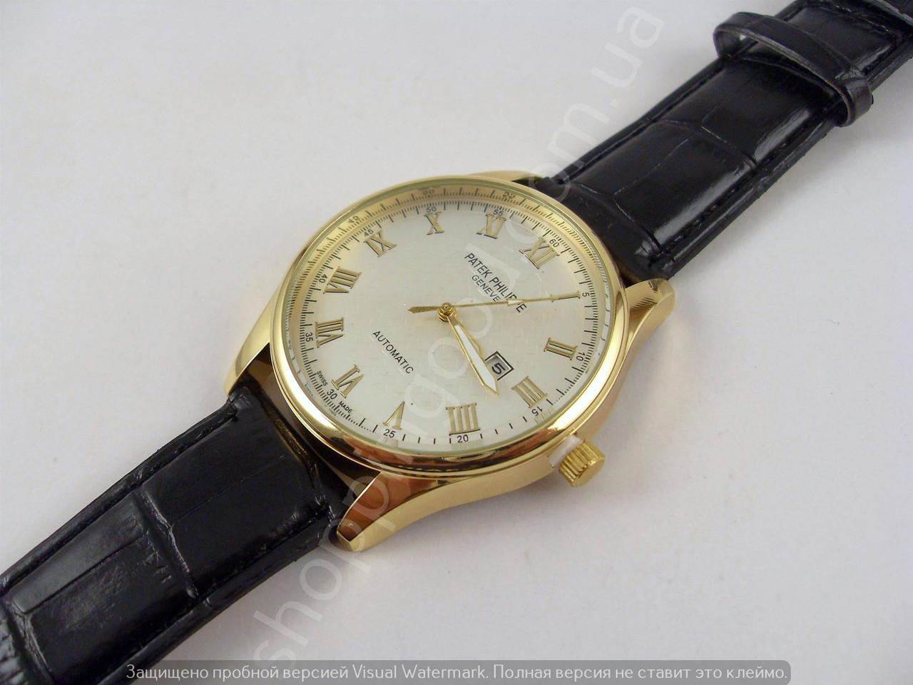 Мужские часы Patek Philippe 4140 золотистые с серебристым циферблатом на  черном ремешке с ... b713d8de065eb