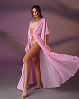 Длинная пляжная туника 001, цвет - нежно-розовый.