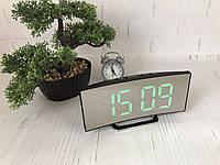 Часы электронные LED зеркальные, зеленый циферблат, термометр, дата, ночной режим 6507, фото 1