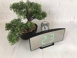 Часы электронные LED зеркальные, зеленый циферблат, термометр, дата, ночной режим 6507, фото 3