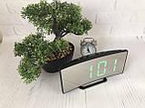 Часы электронные LED зеркальные, зеленый циферблат, термометр, дата, ночной режим 6507, фото 4
