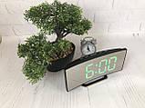 Часы электронные LED зеркальные, зеленый циферблат, термометр, дата, ночной режим 6507, фото 5