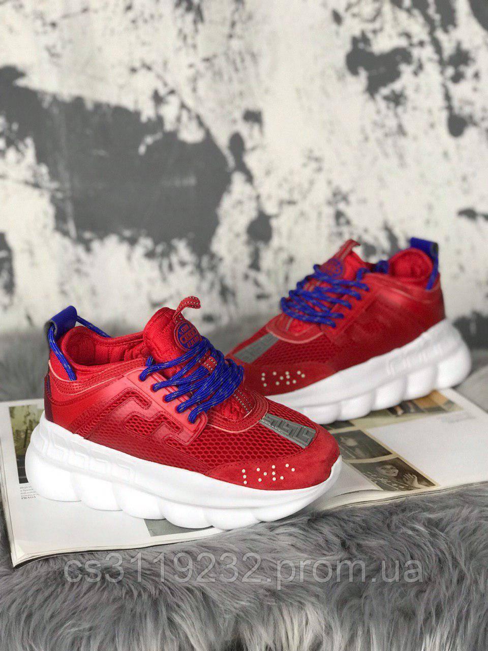 Женские кроссовки Versace Chain Reaction Red White (красные)