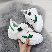 Женские кроссовки на массивной подошве демисезонные на шнуровке ленте белые с зеленым, фото 1