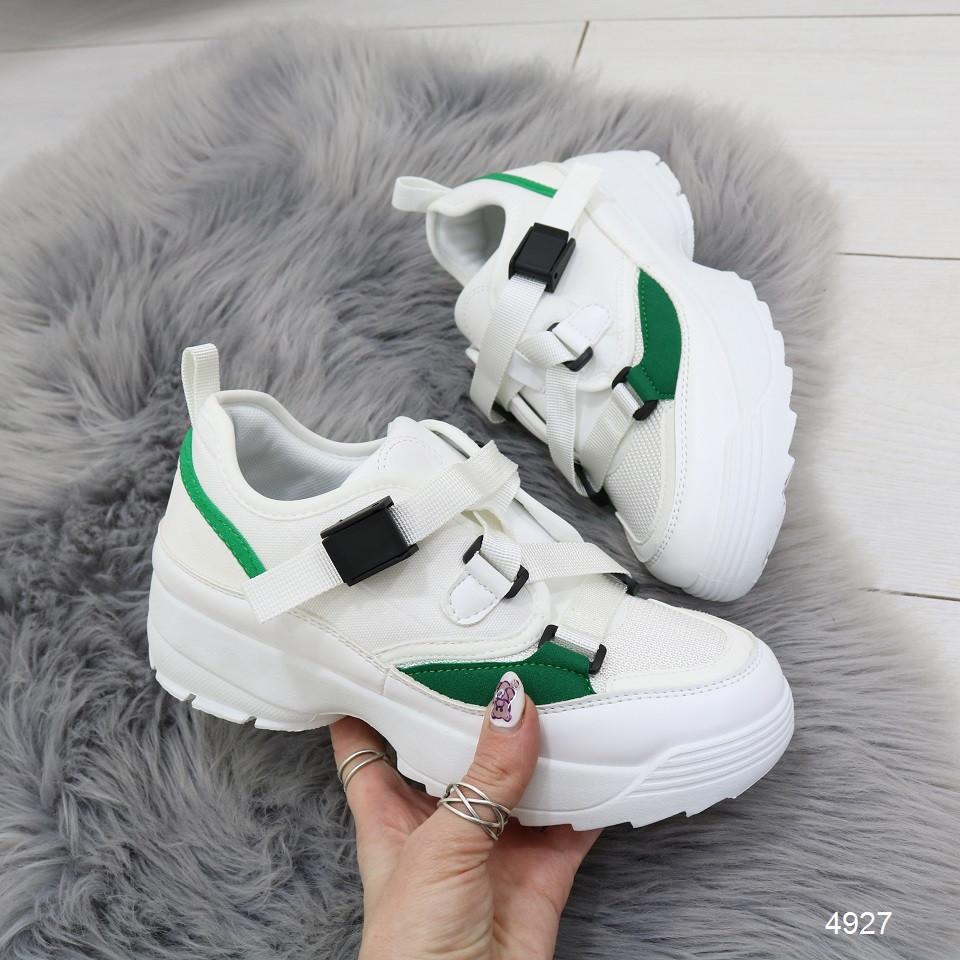 Женские кроссовки на массивной подошве демисезонные на шнуровке ленте белые с зеленым