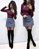 Короткая юбка из букле с высокой талией и карманами, фото 1