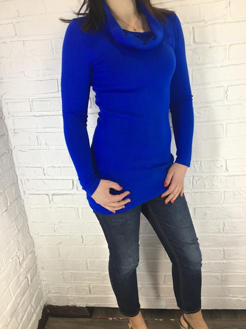 Свитер женский синий трикотажный One size
