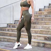 Спортивные женские леггинсы с высокой талией, тайтсы перфорацией и узорами, лосины для фитнеса