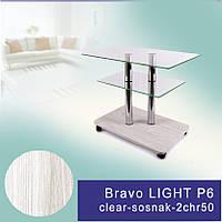 Стол журнальный стеклянный прямоугольный Commus Bravo Light P6 clear-sosnak-2chr50