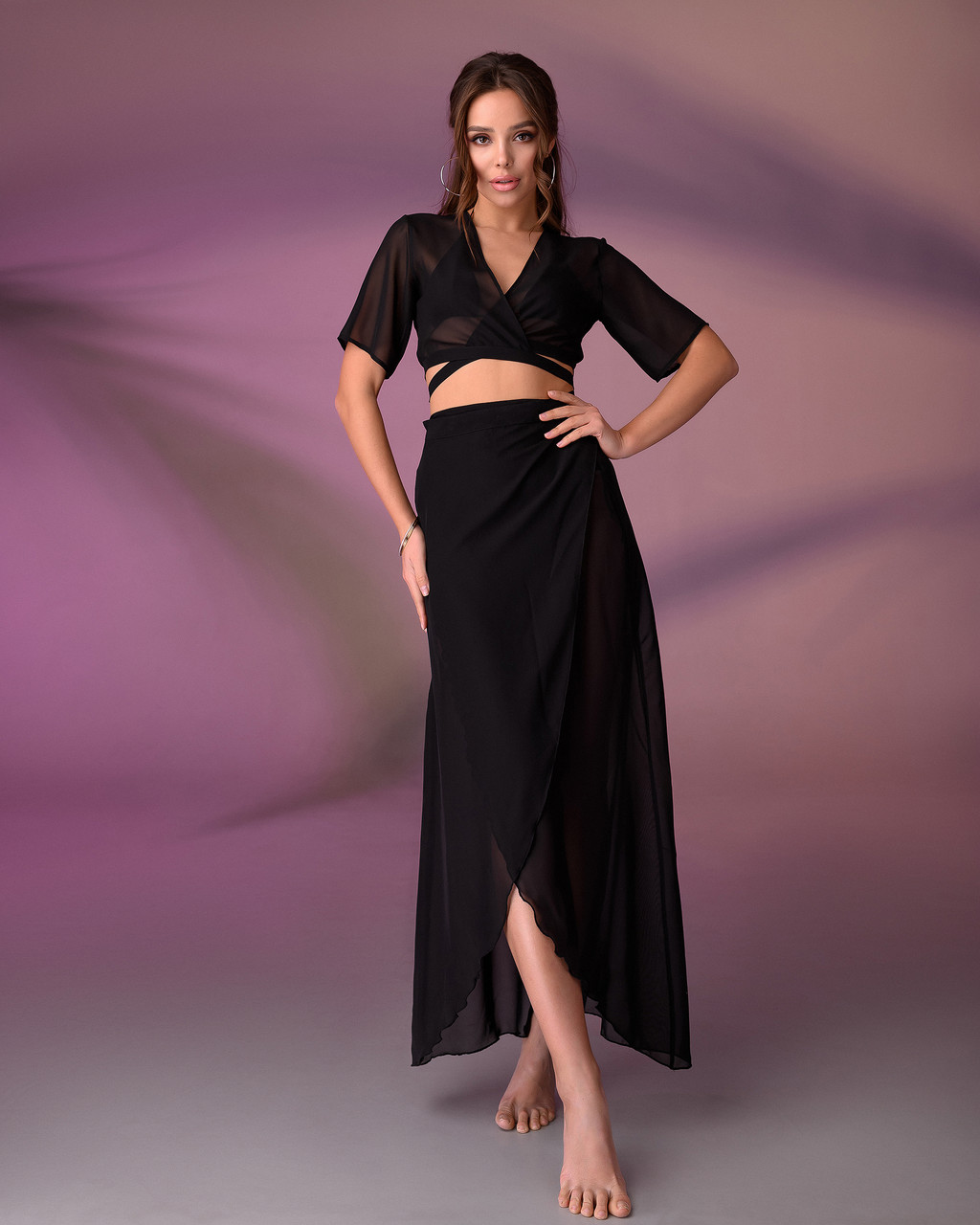 Пляжный костюм 203, цвет - черный.