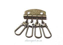 Ключница на 4 карабина 3,4 х 5 см Антик
