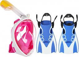 Набор для плавания 2 в 1 (полнолицевая панорамная маска FREE BREATH  + короткие спортивные ласты)