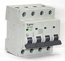 Автоматический выключатель 4-х полюсный автомат трехфазный MCB 6кА, монтаж на DIN 2 А, С