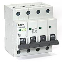 Автоматический выключатель 4-х полюсный автомат трехфазный MCB 6кА, монтаж на DIN 10 А, С