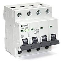 Автоматический выключатель 4-х полюсный автомат трехфазный MCB 6кА, монтаж на DIN