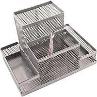 Подставка-органайзер Axent 15,5х10,3х10см металлическая серебристая 2117-03