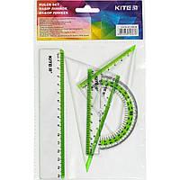 "Набор геометрический ""Kite"" (линейка 15 см,транспортир) (24) (96) №K17-280-09"