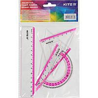 "Набор геометрический ""Kite"" (линейка 15 см,транспортир) (24) (96) №K17-280-10"