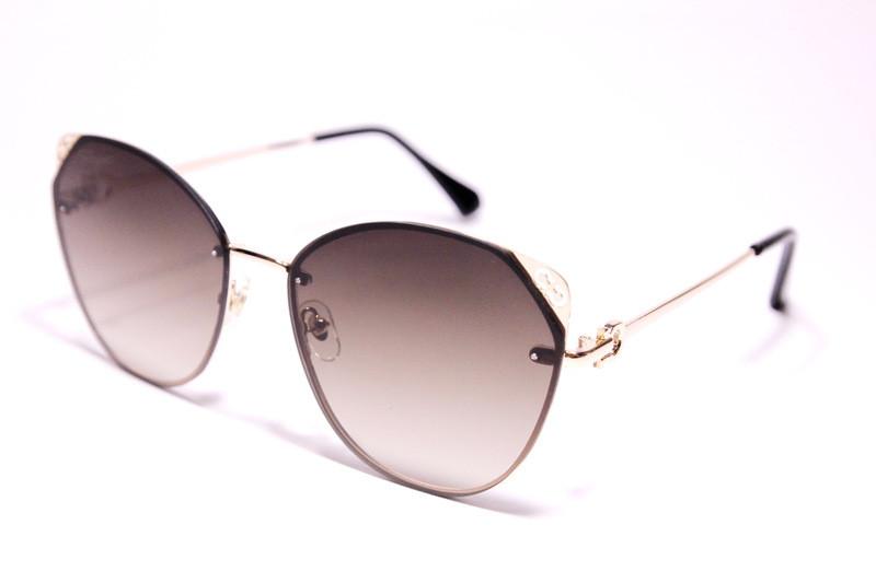Очки солнцезащитные, безободковые, женские, с коричнево-фиолетовыми линзами