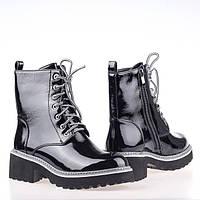 Массивные Лаковые  демисезонные ботинки G891H-E203AL-6 BLACK LAK весна 2020, фото 1