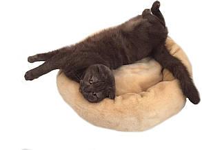 Лежак для кошки, собаки. Круглая пушистая лежанка. Теплая, глубокая, меховая. Серая, бежевая. 45 см