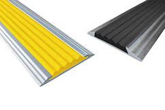 Порог c резиновой вставкой, алюминиевый,17А, длина: 0,9м; 1,80м; 2,7м голый метал, крашенный, порог с резиной